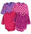 Pippi Bodysuit - L/S - 4-Pack - Purple/Rose/Pink/Fuchsia Pattern