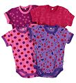 Pippi Bodysuit - 4-Pack - S/S - Purple/Pink/Rose/Fuchsia Pattern