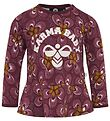 Hummel Long Sleeve Top - HMLMoana - Bordeaux w. Flowers
