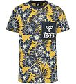 Hummel T-shirt - HMLAlbert - Yellow/Navy w. Flowers