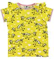 Småfolk T-shirt w. Ruffles - Yellow w. Unicorn