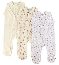Pippi Jumpsuit w. Footies - Assorted - Girl/Rose
