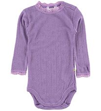 Joha Bodysuit - Wool/Silk - L/S - Purple w. Pointelle