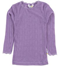 Joha Blouse - Wool/Silk - Purple w. Pointelle