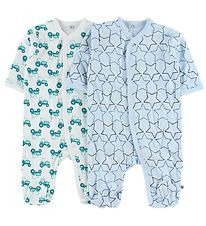 Pippi Jumpsuit w. Footies - 2-Pack - White/Light Blue w. Print