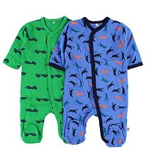 Pippi Jumpsuit w. Footies - 2-Pack - Green/Blue w. Print