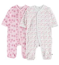 Pippi Jumpsuit w. Footies - 2-Pack - White/Pink w. Print
