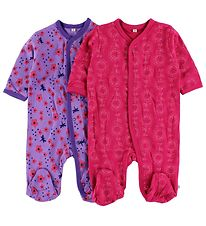 Pippi Jumpsuit w. Footies - 2-Pack - Purple/Pink w. Print