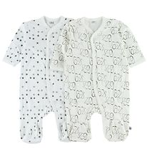 Pippi Jumpsuit w. Footies - 2-Pack - Ivory/White w. Print