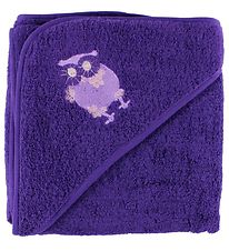 Pippi Hooded Towel - 83x83 - Purple w. Owl