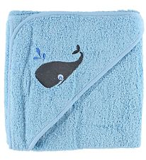 Pippi Hooded Towel - 83x83 - Light Blue w. Whale