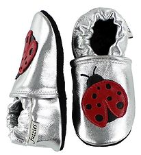 Fuzzies Soft Sole Leather Shoes - Oh Yeah - Silver w. Ladybugs