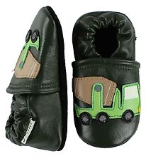 Fuzzies Soft Sole Leather Shoes - Bob - Green w. Cement Mixer
