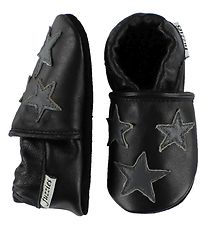 Fuzzies Soft Sole Leather Shoes - Silas - Black w. Stars