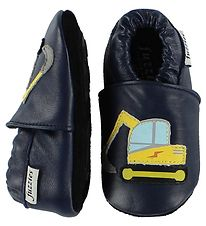 Fuzzies Soft Sole Leather Shoes - Frode - Navy w. Excavator