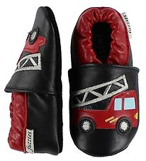 Fuzzies Soft Sole Leather Shoes - Hugo - Black w. Fire Truck