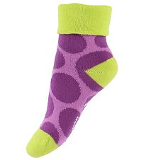 Melton Baby Socks - Lime/Violet w. Dots