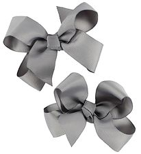 Bows By Stær Bow Hair Clips - 2-Pack - 8 cm - Grey