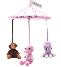 NatureZoo Baby Mobile - Pink w. Monkey/Duck/Squid