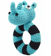 NatureZoo Rattle - Round - Sir Rhinoceros - Turquoise/Black