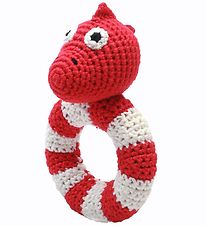 NatureZoo Rattle - Round - Mrs. Dino - Red/White