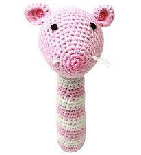 NatureZoo Rattle - Ms. Mouse - Pink/White