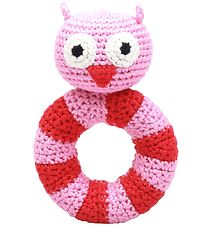 NatureZoo Rattle - Round - Lady Owl - Pink/Red