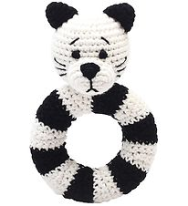 NatureZoo Rattle - Round - Ms. Cat - White Black