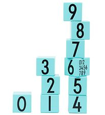 Design Letters Stacking Blocks - Wood - Light Turquoise w. Numbe