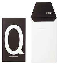 Design Letters Card w. Envelope - Black w. Q