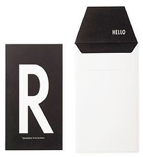 Design Letters Card w. Envelope - Black w. R