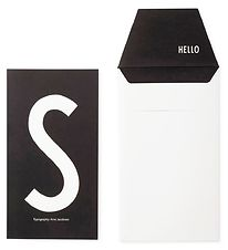 Design Letters Card w. Envelope - Black w. S