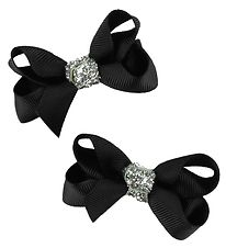 Bows By Stær Hair Clip Bow - 2-Pack - 6 cm - Black/Glitter