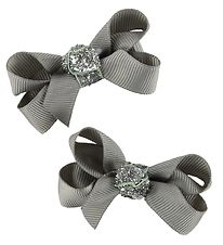 Bows By Stær Bow Hair Clips - 2-Pack - 6 cm - Grey w. Glitter