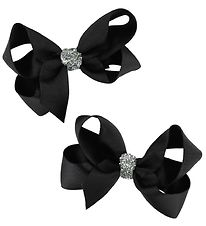 Bows By Stær Bow Hair Clips - 2-Pack - 8 cm - Black w. Glitter