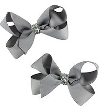 Bows By Stær Bow Hair Clips - 2-Pack - 8 cm - Grey w. Glitter