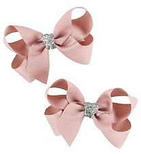 Bows By Stær Hair Clip Bow - 2-Pack - 8 cm - Antique Rose/Glitte