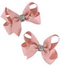 Bows By Stær Bow Hair Clips - 2-Pack - 8 cm - Dusty Rose w. Glit