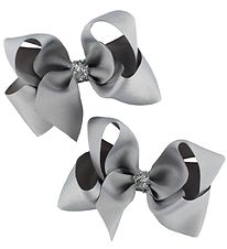 Bows By Stær Bow Hair Clips - 2-Pack - 10 cm - Grey w. Glitter