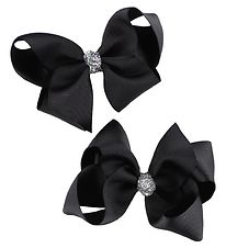 Bows By Stær Bow Hair Clips - 2-Pack - 10 cm - Black w. Glitter