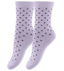 Fuzzies Socks - 2-Pack - Pale Lavender w. The Purple Dots