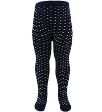 Fuzzies Tights - Navy w. Beige Dots