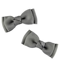 Bows By Stær Bow Hair Clips - Double Bow - 2-Pack - 6 cm - Grey
