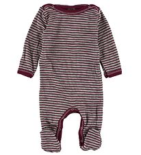 Engel Jumpsuit w. Footies - Wool/Silk - Grey Striped