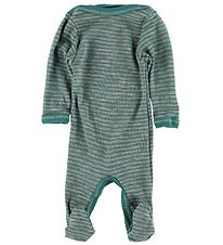 Engel Jumpsuit w. Footies - Wool/Silk - Grey/Blue Stripe