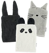 Liewood Washcloths w. Ears - 3-Pack - Black/Grey/Ivory