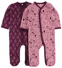 Pippi Jumpsuit - 2-Pack - Rose/Purple w. Print