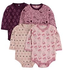 Pippi Bodysuit - 4-Pack - L/S - Rose/Purple Pattern
