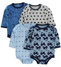 Pippi Bodysuit - 4-Pack - L/S - Blue/Light Blue Pattern