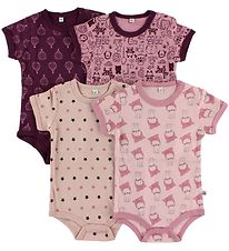 Pippi Bodysuit - 4-Pack - S/S - Rose/Purple Pattern